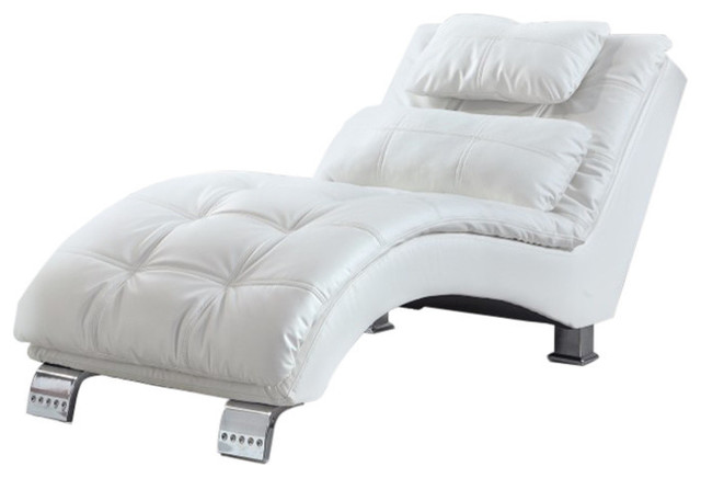 White Chaise With Sturdy Chrome Legs.