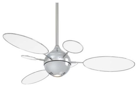 Cirque54in 1 Light Halogen Bulb Ceiling Fan In Polished Nickel.