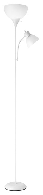 "Delilah 72"" Torchiere Floor Lamp With Adjustable Reading Light, White"