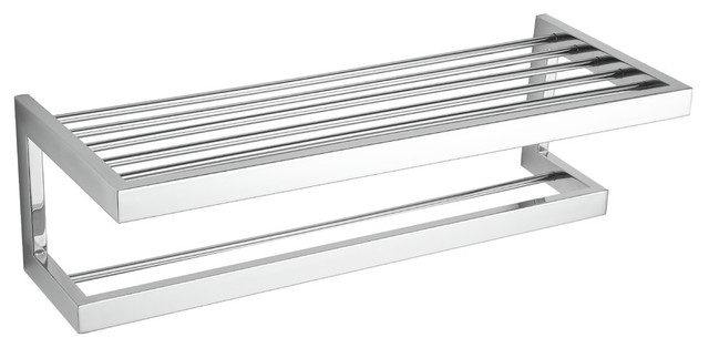 Rikke Stainless Steel Towel Bar With Shelf, Chrome - Modern - Towel ...