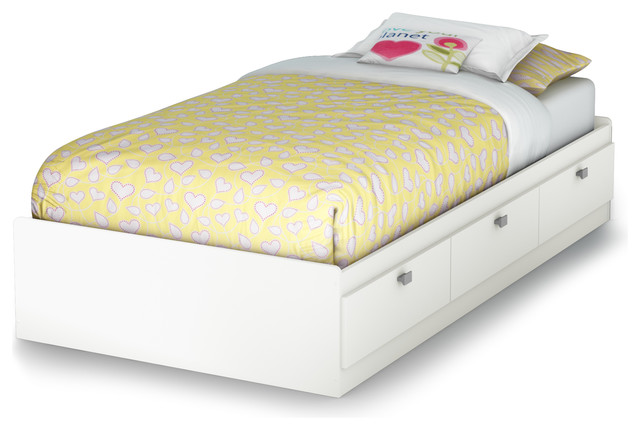 South Shore Sparkling Twin Mates Bed, 39&x27;&x27; With 3 Drawers, Pure White.