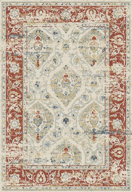 Dynamic Rugs Essence 55780-130 Ivory, Red 7&x27;10 X 10&x27;10 Rug.
