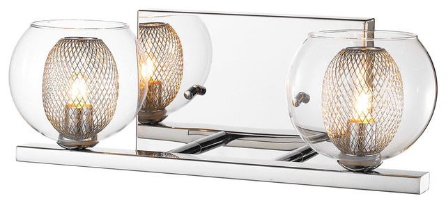 Auge 2-Light Bathroom Vanity Lights, Chrome.