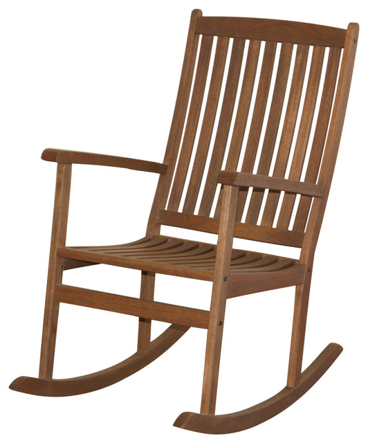 Timbo Vila Rica Hardwood Patio Rocker, Brown Finish Transitional Outdoor  Rocking Chairs