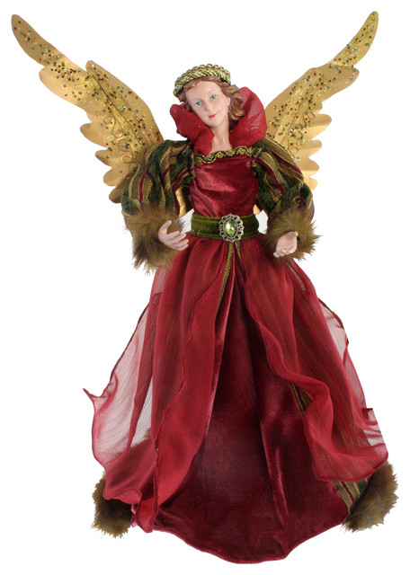Christmas Tree Angel, Red And Gold.