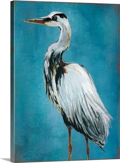 """great Blue Heron Ii"" Premium Thick-Wrap Canvas Wall Art 30""x40""."