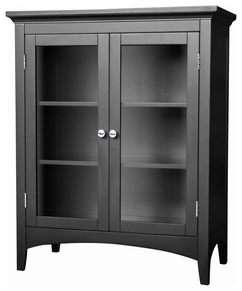 Dark Espresso Elegant Home Fashions Vera 2-Door Floor Cabinet