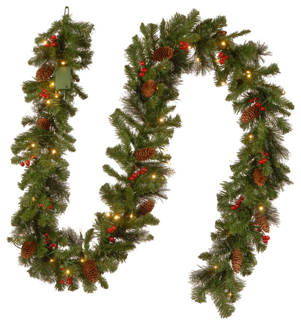 "9'x10"" Crestwood Spruce Garland With 50 Battery Operated Soft White LED Lights"