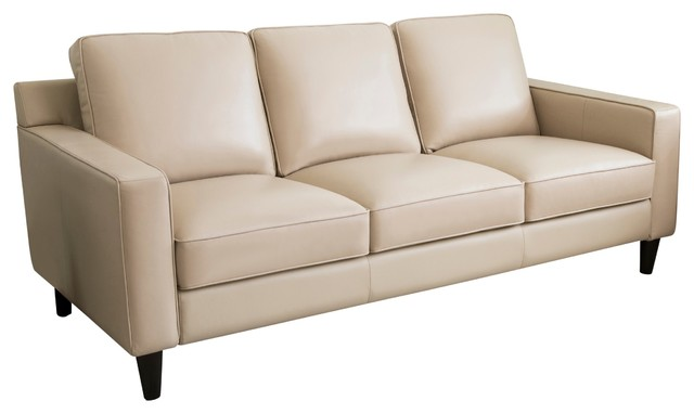 Abbyson Living Stardell Top Grain Leather Sofa, Cream - Midcentury - Sofas - by Abbyson Living