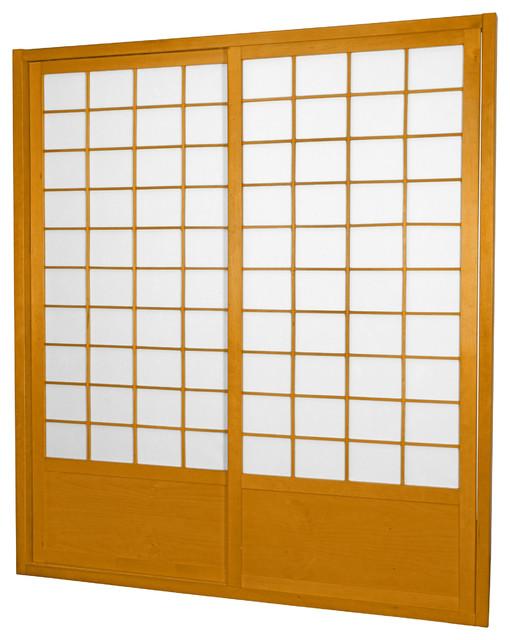 7&x27; Tall Zen Shoji Sliding Door Kit (double, Sided), Honey.