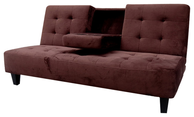Madrid Futon Sofa Bed With Drop Down Cup Holder, Brown