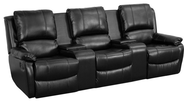 3-Seat Home Theater Recliner, Black