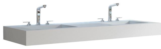 "Adm Rectangular Countertop Sink, Matte White, 60""x21""."