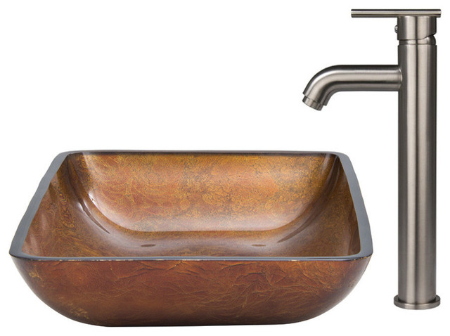 vigo bathroom sinks vigo rectangular glass vessel sink and faucet set modern 14952