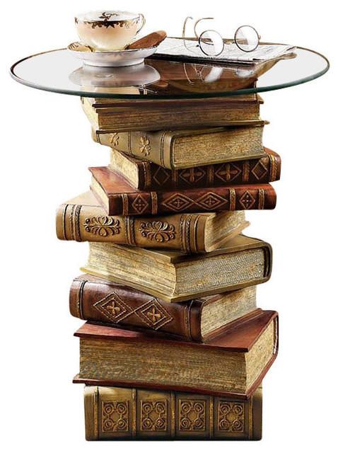 Design Toscano Power of Books Sculptural Glass Topped Side Table Side Tables And End Tables