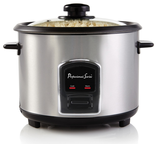 Rice Cooker, 20-Cup Cooked, Stainless Steel.