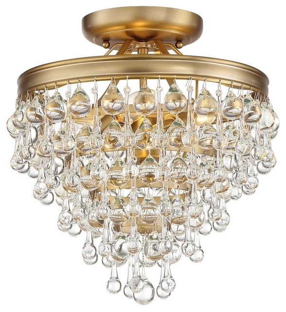 Calypso 3 Light Semi-Flush Mount In Vibrant Gold With Clear Glass Drops Crystal.