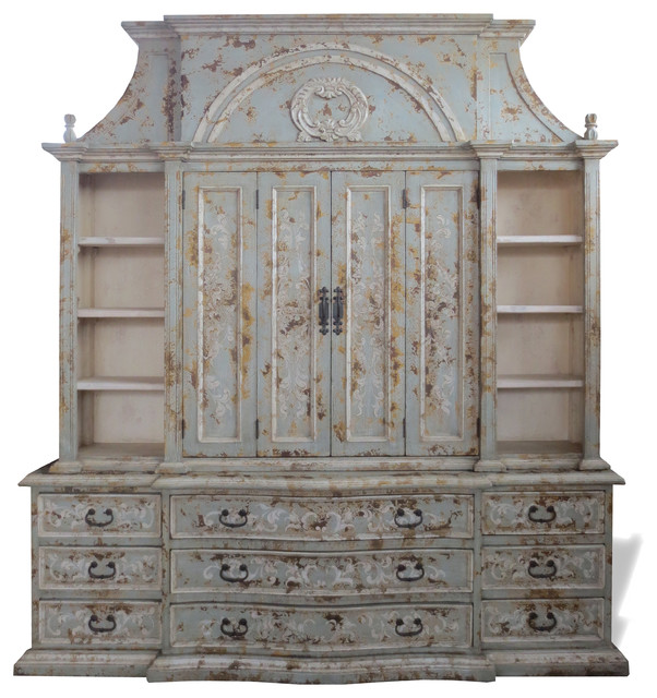 Old World Entertainment Center Paris Celeste Distressed With Doors Traditional Centers And Tv Stands By Lutina Furniture