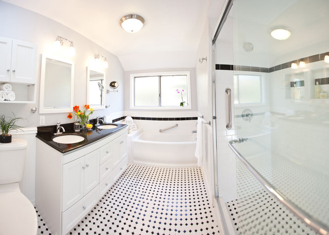 Traditional White Bathroom Designs classic black & white bathroom remodel - traditional - los angeles