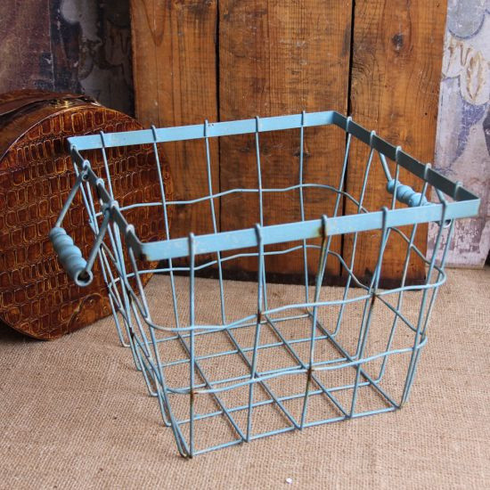 Shabby Cottage Chic Blue Wire Basket