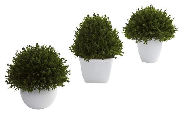 Mixed Cedar Topiary Collection Set Of 3 Modern Artificial