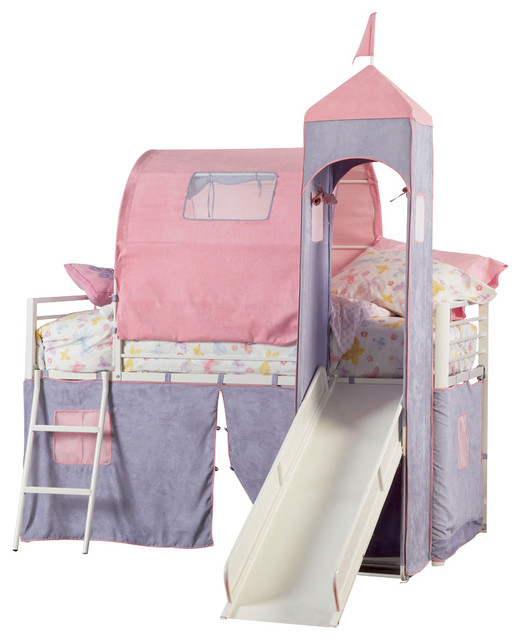 Twin Bed With Slide Part - 27: Powell Princess Castle Twin Size Tent Bunk Bed With Slide Traditional-bunk- Beds