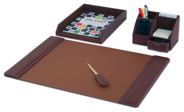Mocha Leather 4-Piece Desk Set.