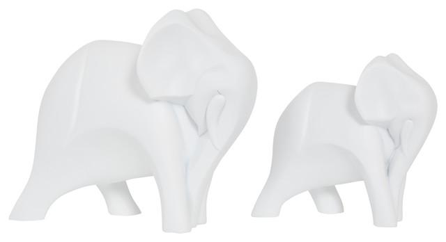 Elephant Ornaments Sculptures, 2-Piece Set, White