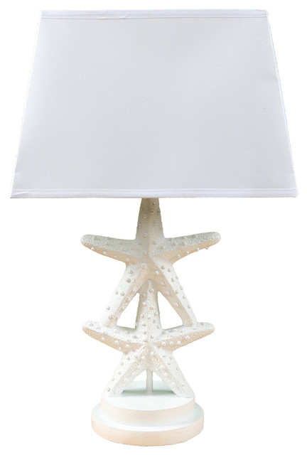 Beautiful White Resin Double Starfish Lamp Beach Style Table Lamps