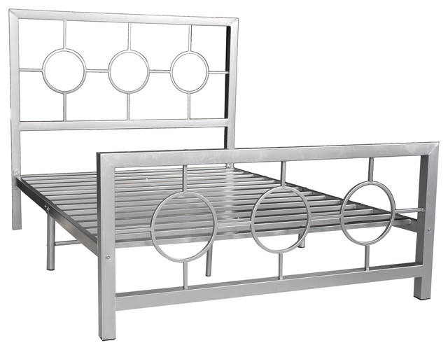 Eternity, Metal Bed Frame, Circle Design, Queen contemporary-panel-beds