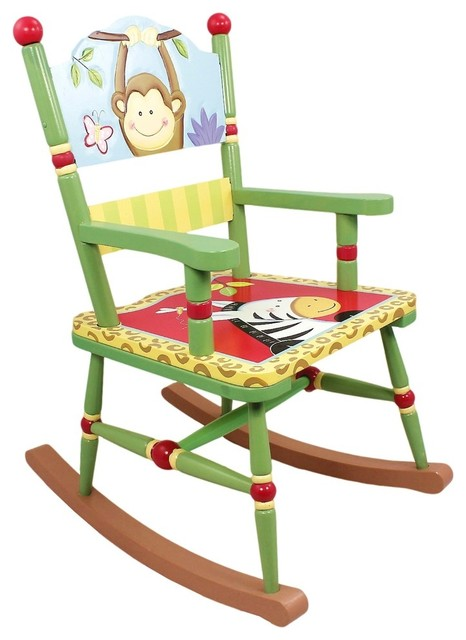Sunny Safari Handcrafted Kids Rocking Chair transitional-kids-chairs