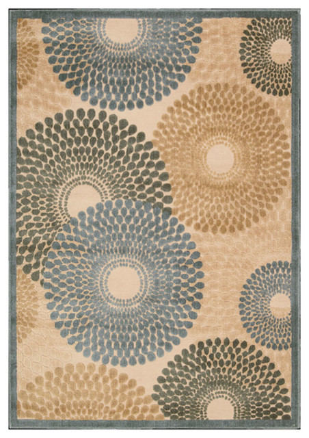 "Nourison 5'3""x7'5"" Graphic Illusions Teal Rectangle Area Rug"