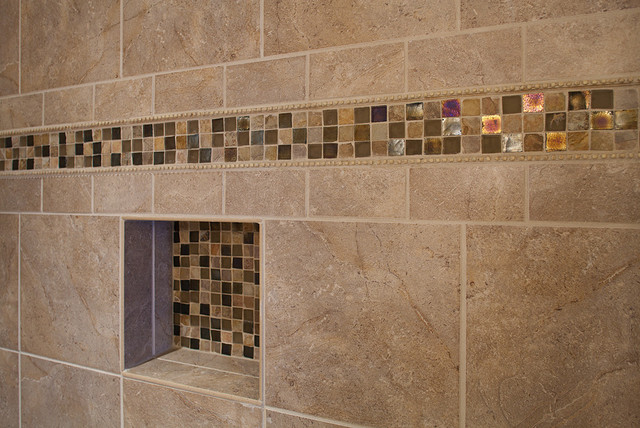 Master Bathroom Shower, Closeup On Accent Tile American Traditional