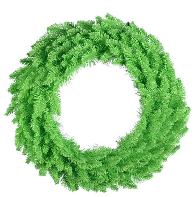 "Wreath With Mini Lights, Wreath: Lime, Lights: Aqua, 24""x24""."