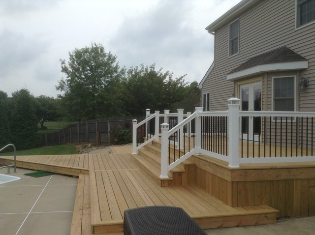 Pressure Treated Pool Deck With Solar Caps