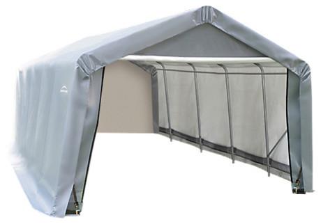 12&x27;x20&x27;x8&x27; Peak Style Shelter, Gray.