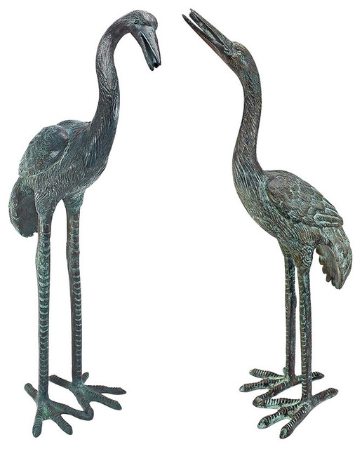Bronze Crane Sculptures Set Of 2 Small Traditional Garden Statues And Yard Art By Design
