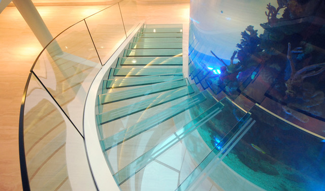Staircase Surrounding Fish Tank Contemporary London