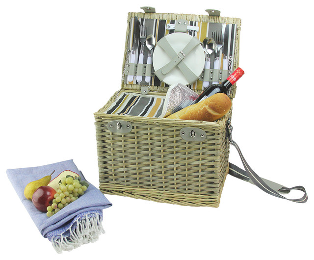 4 Person Insulated Picnic Basket : Houzz northlight person hand woven willow