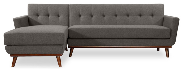 Jackie Midcentury Modern Sectional Sofa Cadet Gray Material Cashmere Left midcentury-  sc 1 st  Houzz : danish modern sectional - Sectionals, Sofas & Couches