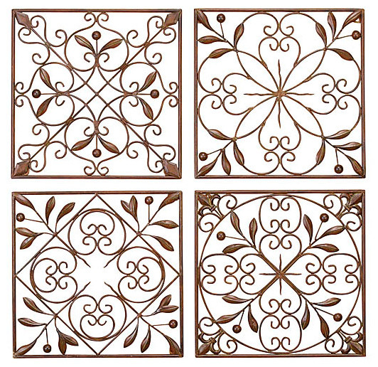 Metal Scroll Wall Decor artisan scroll wrought iron wall decor, set of 4 - traditional