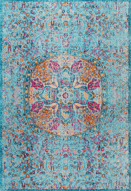 Floral Encompass Mandala Area Rugs, Aqua, 5&x27;x7&x27;5.