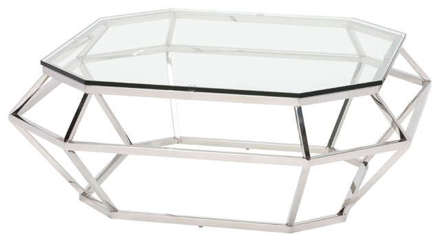 Diamond Square Coffee Table With Clear Tempered Glass, Silver