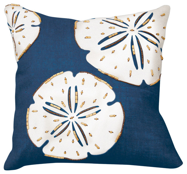 Beach Style Decorative Pillows : Sand Dollar Beaded Applique Pillow, Coral - Beach Style - Decorative Pillows - by Rightside ...