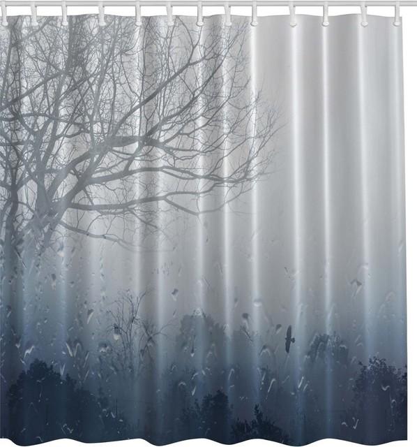 Rain Storm Fabric Shower Curtain Contemporary Shower Curtains By Curtain Call