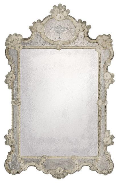 Large Antiqued Venetian Mirror.