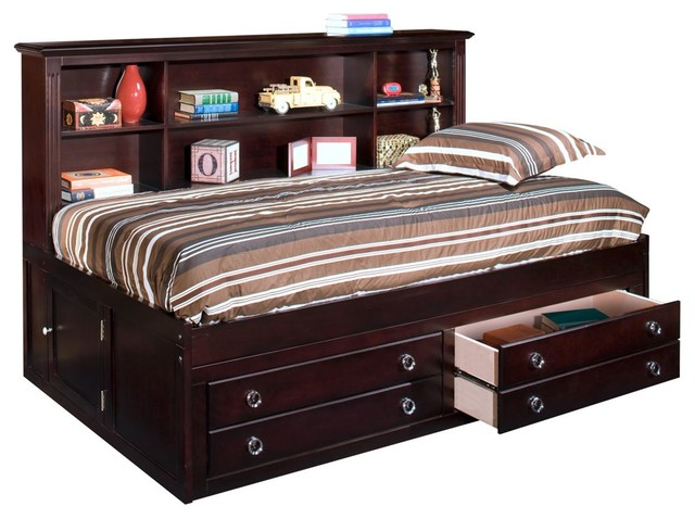 Vienna Youth Twin Captains Lounge Storage Bed, Espresso