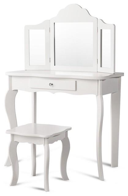 . Modern Kids Makeup Dressing Mirror Vanity Table Stool Set