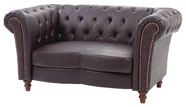 Ellison Tufted Faux Leather Chesterfield Love Seat Traditional Loveseats By Nova Furniture