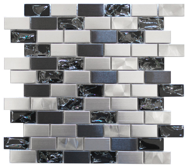 Eden Mosaic Stainless Steel and Crackled Glass Mosaic Mix
